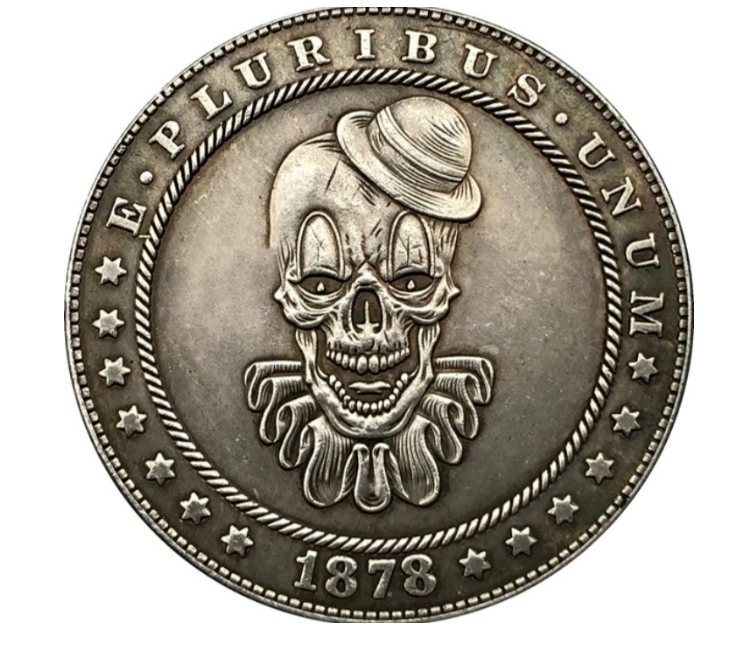 Primary image for Hobo Nickel Dollar Killer Clown Pennywise Movie Man Villain US Art Casted Coin