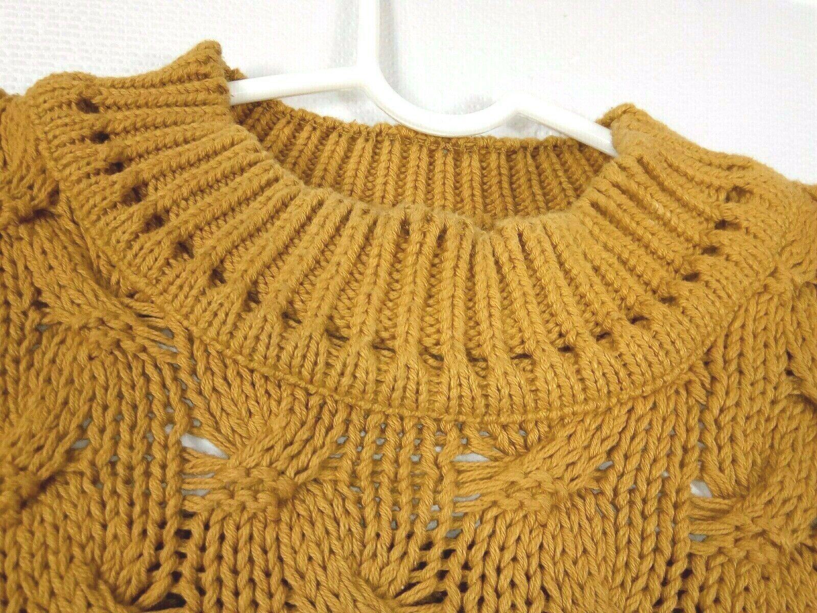 Vtg Ellis Island Men Sweater XL Mustard Yellow Crewneck Chunky Cardigan Pullove image 8