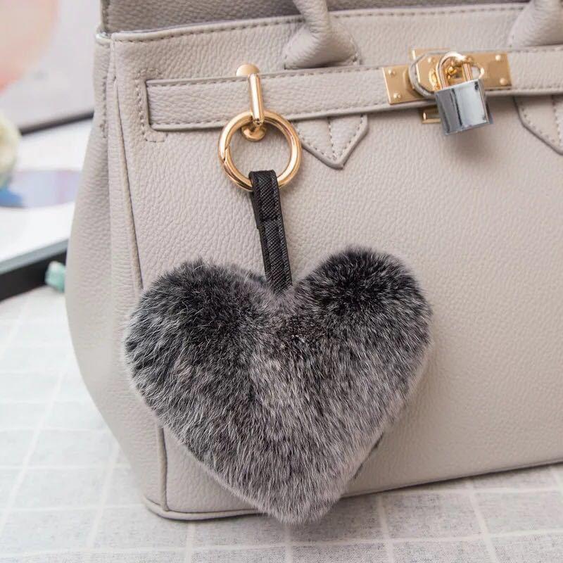 Rabbit Hair Heart Shape Key Chains Handbag Accessories Birthday Christmas Gift