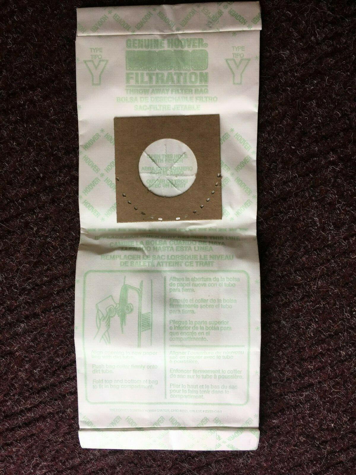5-PACK Genuine Hoover Y Vacuum Cleaner Bags Micro Allergen Filtration 4010100Y