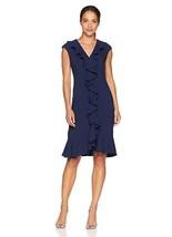 New Maggy London Women's Petite 30's Crepe Flounce Dress Navy Blue Size 4P - $78.16