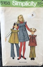 VTG Simplicity 5168 Girl's Jumper or Tunic & Pants Pattern From 1972 - S... - $4.70