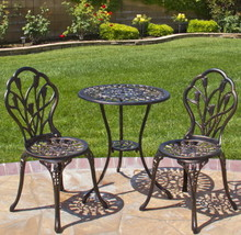 Patio Bistro Outdoor Cast Aluminum Set 3 Furniture Antique Copper Garden... - $188.47