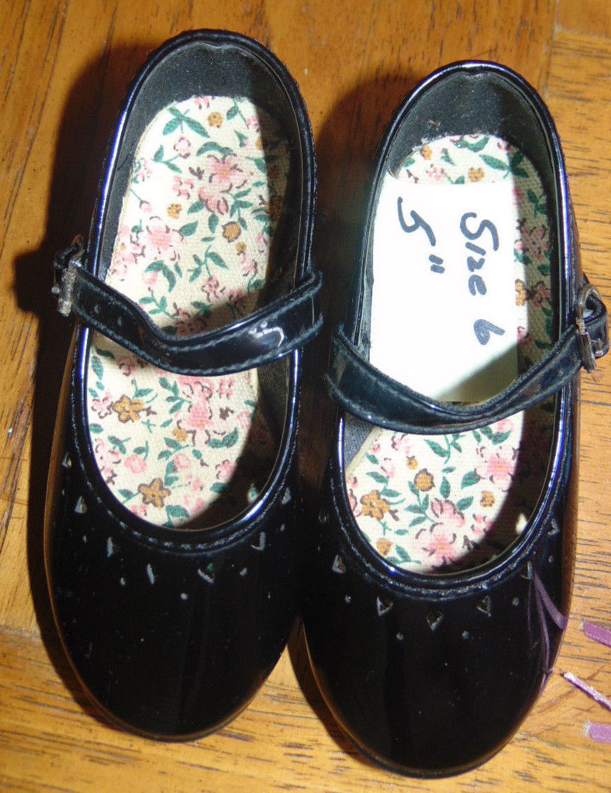 Shoes for Child or Doll Black Patten W/Bows-Buckle-Velcro-Elastic-4 Sizes