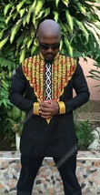 Odeneho Wear Men's Black Polished Cotton Top/Embroidery. African Clothing. - $74.25+