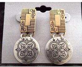 dangling two toned geometric design earrings pierced - $18.99