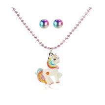 AMAZYJ Girls Unicorn Necklace Earrings Set Rainbow Chunky Jewelry Five-Pointed S image 1