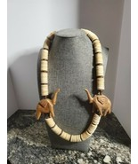 Vintage wooden elephant necklace or decor simple hook closure 2.5 oz  24... - $15.83