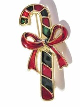 VINTAGE CHRISTMAS PIN CANDY-CANE AND BOW ENAMEL RED GREEN - $16.00