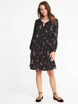 Old Navy Dress S M Tall Black Floral Swing Ruffle Neck Tie Chiffon Velve... - $29.99