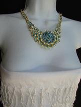 Nuevo Mujer Grande Dorado Flor Tendencia Jewelry Azul Diamantes Collar image 10