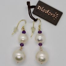 Yellow Gold Earrings 18k 750 pearls freshwater and Amethysts Made in Italy image 3