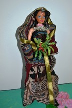 ONE OF A KIND VINTAGE HAND MADE DOLL IN TRADITIONAL INDIAN CLOTHES,1970s - $23.03