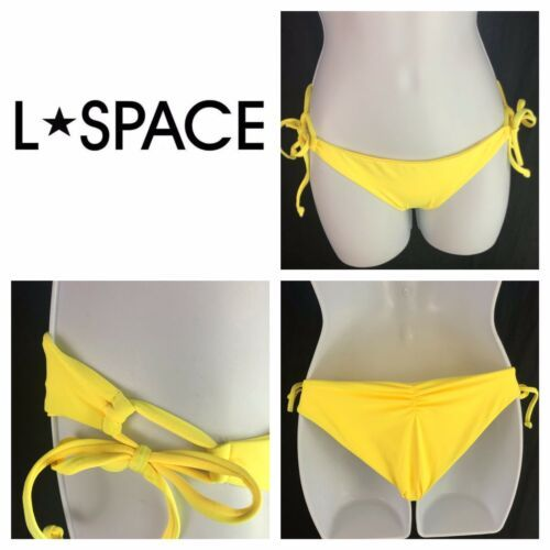 L Space Ella Side Tie Lace Up Back Ruched String Bikini Yellow Womens XS