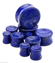 "PAIR-Stone Lapis Blue Lazuli Saddle Flare Ear Plugs 16mm/5/8"" Gauge Body... - $12.99"