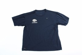 Nike Mens Short Sleeve T Shirt Size L Large Navy Blue Crew Neck Gym Fitness Run - $15.83