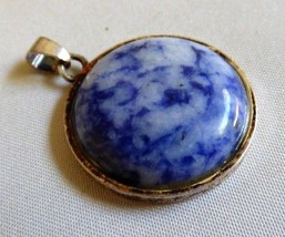 "Round Coin shape Blue stone Sodalite Silver metal frame Pendant 1 1/8"" d... - $17.82"