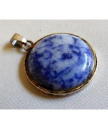 """Round Coin shape Blue stone Sodalite Silver metal frame Pendant 1 1/8"""" d... - $17.82"""