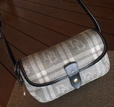 DOONEY & BOURKE Small Black Gray Plaid Leather Purse Bx44 - $46.71