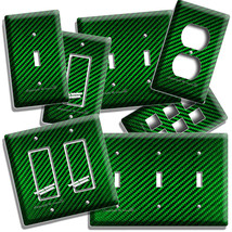 Green Carbon Fiber Look Light Switch Outlet Cover Wall Plate Man Cave Room Decor - $8.99+