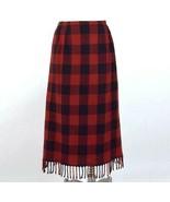 Double D Ranch Red Buffalo Plaid Pencil Skirt Wool Flannel Fringe Sz 6 W... - $54.44