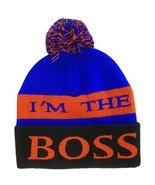 I'm The Boss Adult Size Tri-Color Striped Winter Knit Pom Beanie Royal/R... - $11.95