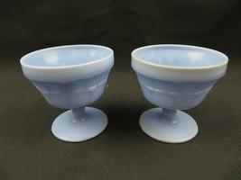 Vintage blue slag glass footed dessert cups goblets snowflakes design Po... - $38.00