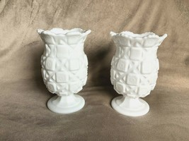 "2 Westmoreland White Milk Glass Old Quilt Footed Matching Vases 7"" Signe... - $39.59"