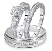 1 1/2 Ct Round Cut Diamond Matching Trio Wedding Ring Set 14K White Gold Over - $158.38