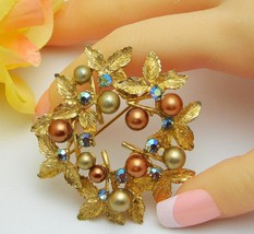 Hobe Wreath Brooch With Coppery Golden & Bronze Faux Pearls - $29.95