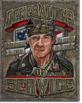 Generations of Service US Military Veteran Vintage Garage Wall Decor Metal Sign - $15.99