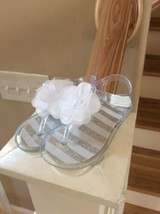 Jelly Shoes Clear White Flower Sandals Infant Girls 7  New Easy on off  - $9.89