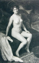 NUDE Young Maiden Morning in Bed Pensive - 1903 Lichtdruck Print - $11.25