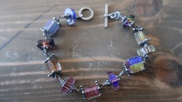 Sterling Silver Colorful Bead Choker Bracelet 7.5 inches - $12.86