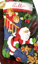 Bucilla No Peeking Santa Christmas Eve Toys Kids Holiday Felt Stocking Kit 85268 - $79.95