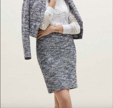 Ann Taylor TWEED PENCIL SKIRT Blue 10 - $65.00