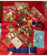 huge lot broken jewelry beads charms jewelry supplies crafts metal clay ... - $6.99