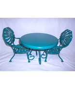 American Girl Kit Metal Table Chair Set Green Furniture - $69.18