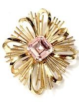 Trifari Gold Tone Ribbon Maltese Brooch W Large Rose Center Rhinestone - $376.36