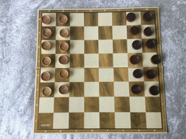 STAUNTON CARDINAL CARVED WOOD 24 CHECKERS PIECES & #1005  - $9.39