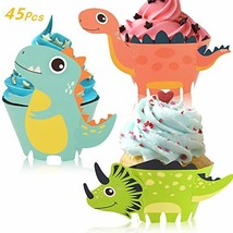 Little Siena Dinosaur Cupcake Wrappers Toppers Set 45 PCS, Little Dino C... - $11.30