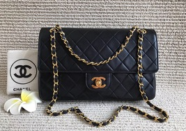 100% Authentic Chanel Vintage Black Lambskin Medium Classic Double Flap ... - $2,499.00