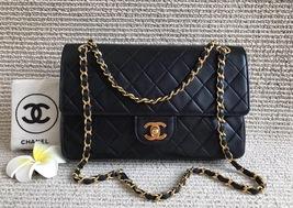 100% Authentic Chanel Vintage Black Lambskin Medium Classic Double Flap Bag GHW
