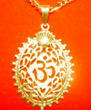 NICE Gold plated over Sterling Silver 925 Charm Pendant Ganesh Hindu OM Crown Je - $21.95