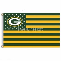 Green Bay Packers Flag USA With Stars and Stripes NFL Flag 3x5 ft custom... - £8.63 GBP