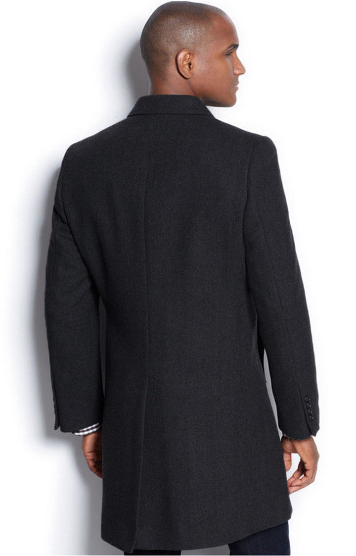 NEW NAUTICA HERRINGBONE CHARCOAL SINGLE BREASTED WOOL BLEND OVER COAT 46 R  $350