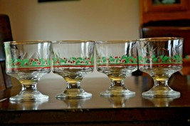 Vintage Arby's HOLIDAY Sherbert Footed Glass-SET OF 4-Red Holly Berry - $23.76