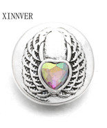 10Pcs/lot Snap Jewelry Buttons Wing Rhinestone 18mm Snap Buttons Fit 18m... - $9.87