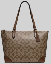 New Coach 29208 Signature Zip Tote handbag Coated Canvas Khaki / Saddle 2 - $104.00