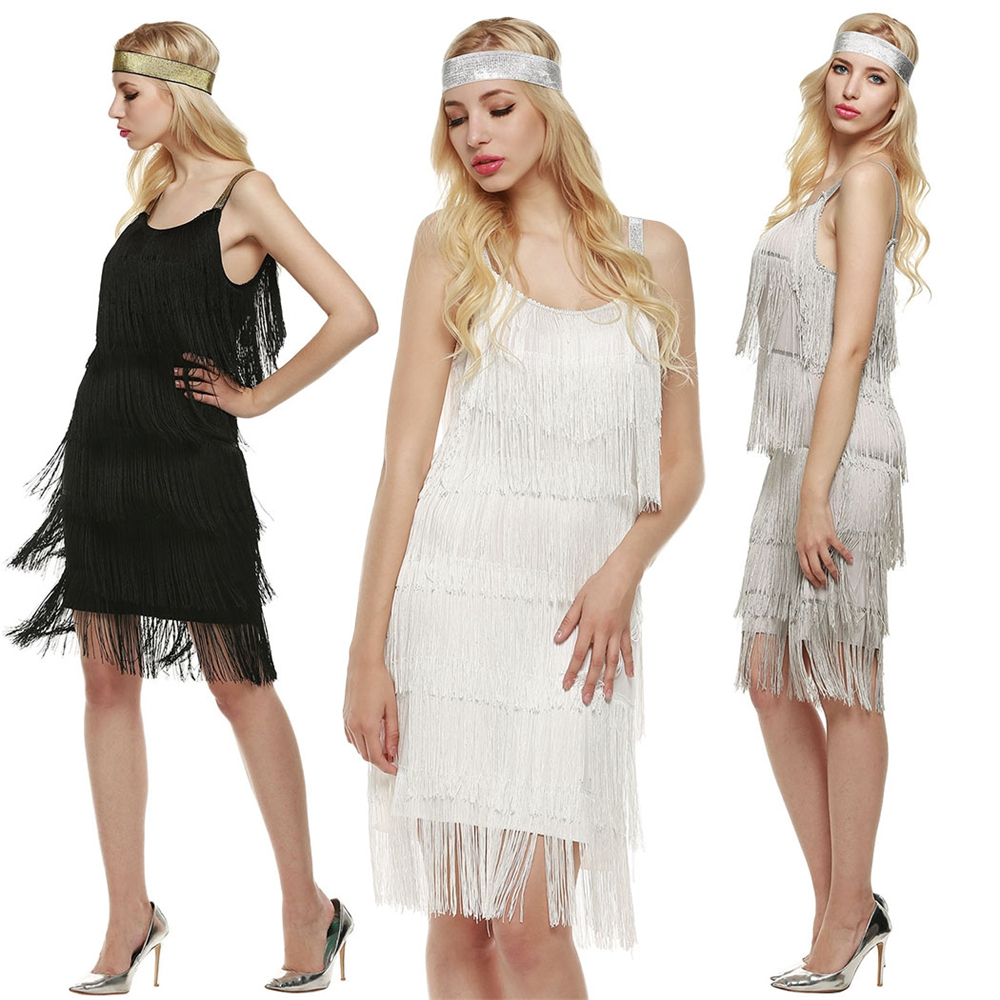 Women Ladies Straps Dress Tassels Glam Party Dress Costume Dress Fringe Flapper